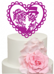 Skull Candy Bride and Groom in Heart Mr & Mrs Halloween Wedding Acrylic Cake Topper